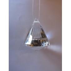Rainbow Glass Sun Catcher - 40mm diamond bell, clear