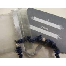 Lapis Chip & Rhinestone Bracelet 21cm