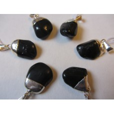 Black Tourmaline Pendant Silver Plated