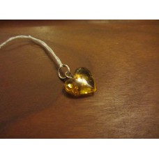 Amber heart pendant 10mm sterling silver