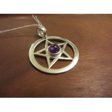 Amethyst pentagram pendant Sterling Silver