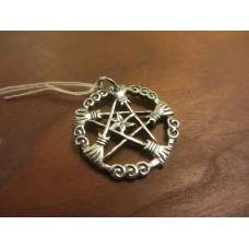 Broomstick of the elders pentagram pendant Sterling Silver