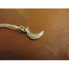 Crescent moon charm double sided Sterling Silver