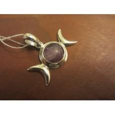 Fluorite triple moon pendant w/hidden pentagram Sterling Silver