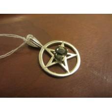 Large Moldovite pentagram pendant Sterling Silver
