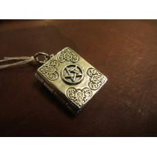 Master Grimoire book of shadows locket pendant Sterling Silver