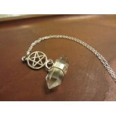 Quartz pentagram necklace 18 inch Sterling Silver