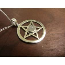 Rainbow Moonstone pentagram pendant Sterling Silver