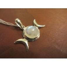 Rainbow Moonstone triple moon pendant Sterling Silver