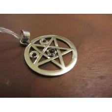 Triple moon black onyx pentagram pendant Sterling Silver