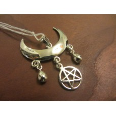 Wiccan moon blessings pendant with pentagram Sterling Silver