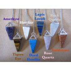 Gemstone pendulum necklaces