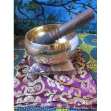 13cm Brass Singing Bowl Set (Purple)