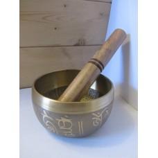 10cm brass 5 Buddha Singing Bowl with stick