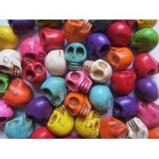 Howlite rainbow skull beads